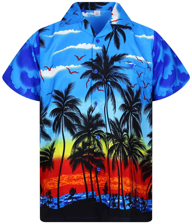 Herren Funky Beach Blue print Hawaiian Jungle Hawaiian Flowers Shirt Fronttasche Kurzarm g4gvAEfqw
