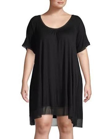 Mujer Negro Vestido 1x Hue Para Tamaño 1xl Solid Sleepwell wTRpS