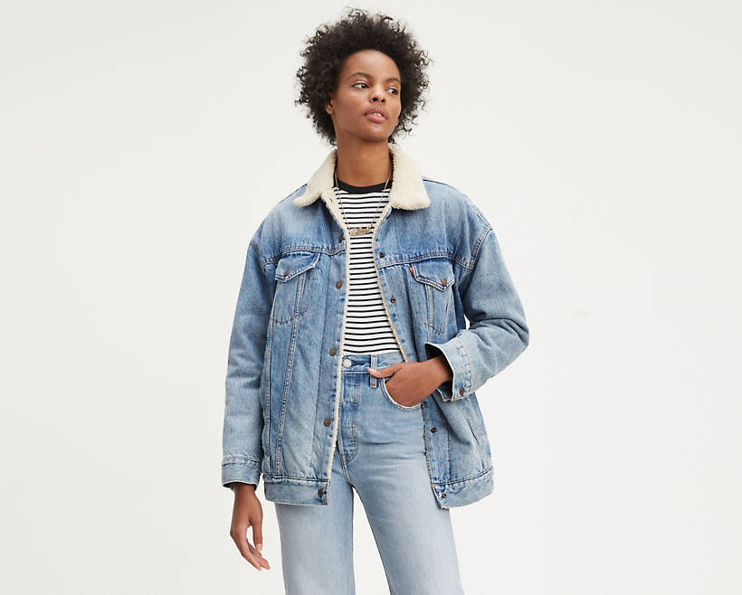 Big Xl Levi's Trucker Baggy Sherpa Mujer Deal Para Jacket xFTqA