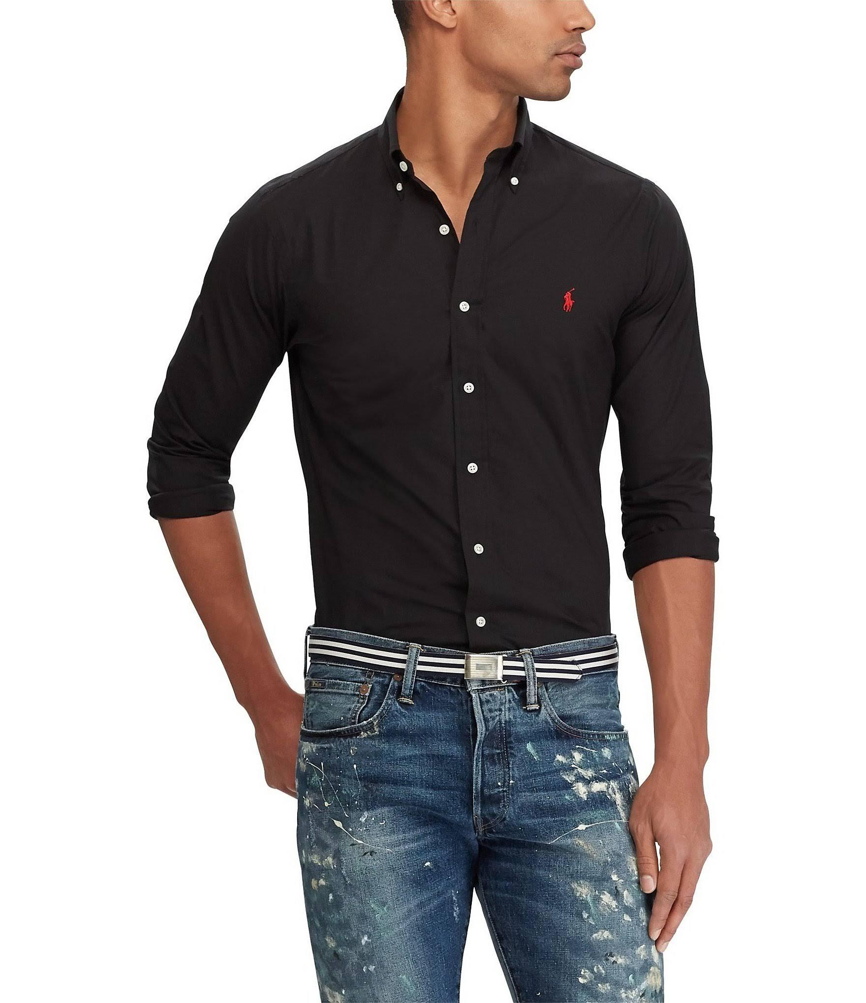 Polo Popeline Ralph Lauren Schwarzes shirt AqArtw