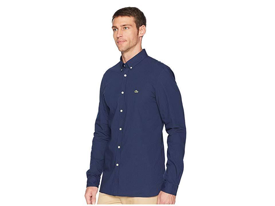 Algodón Elástico Lacoste De Hombre Marino Azul Slim Popelina Fit Para Camisa awURq1xn