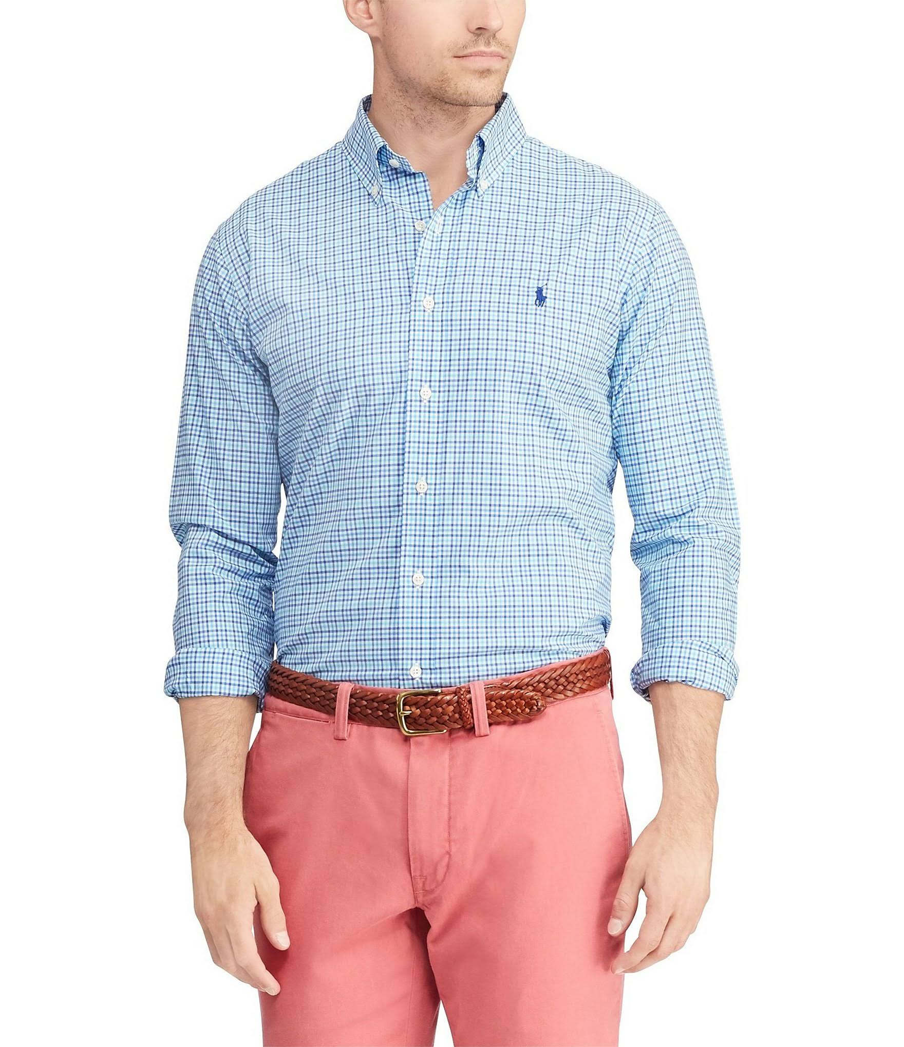 Fit Shirt Männer Ralph Lauren Polo Slim Cyan HvIqw