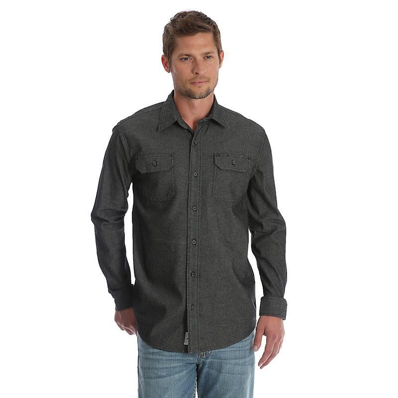 Sarga Para Denim Hombre Manga De tamaño Wrangler Camisa Larga Pequeño Negro OHq4F