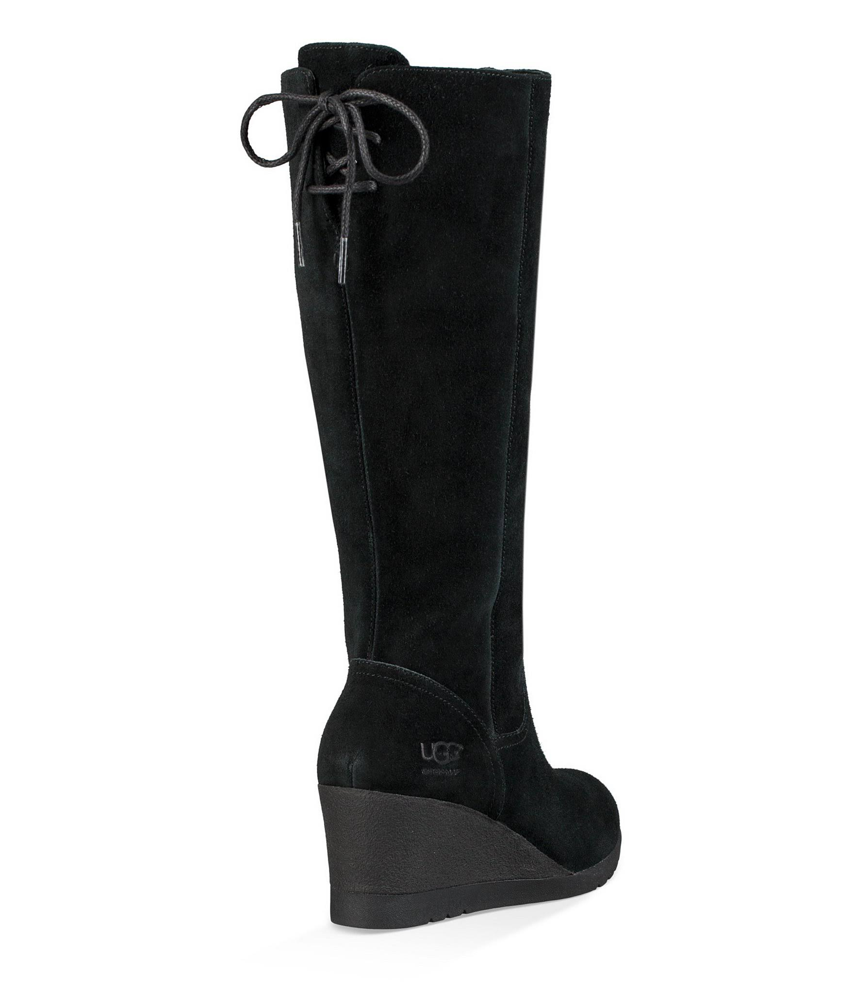 Tall Ugg Waterproof Boots 5m Black 9 Wedge Dawna Suede zRqaO
