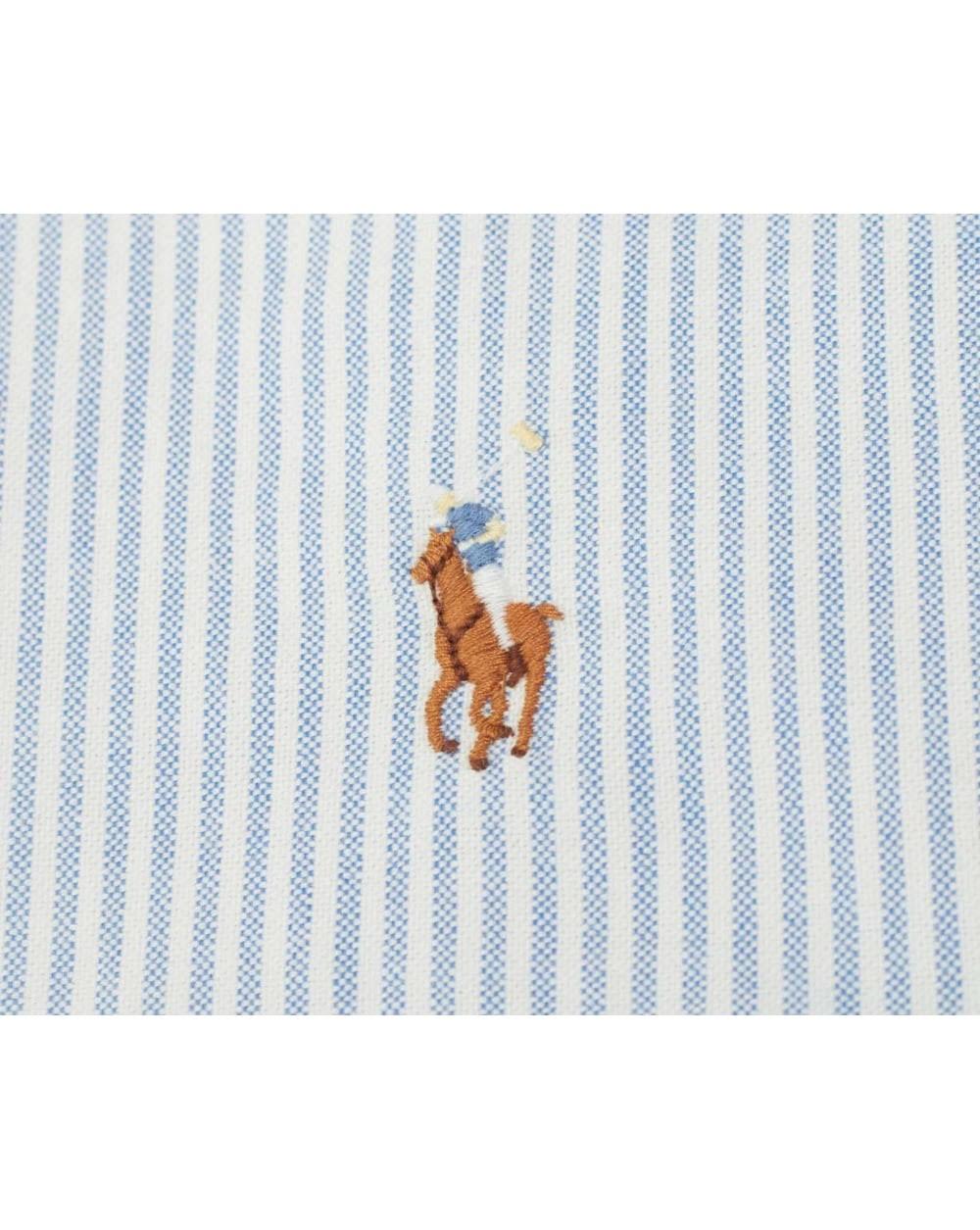Azul Polo Oxford Blue Lauren Blanco Ralph Grande Rayas Corte Entallado Camisa De UTvxTZw