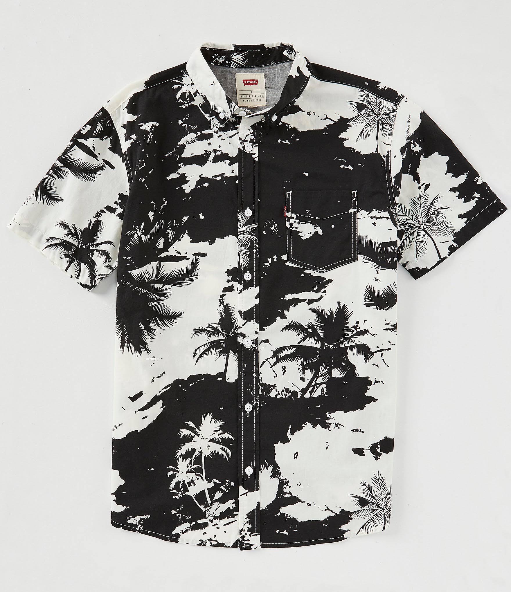 Con Para Mozell S Negro Camisa Palma Estampado De Hombre Popelina Levi's w0xq16
