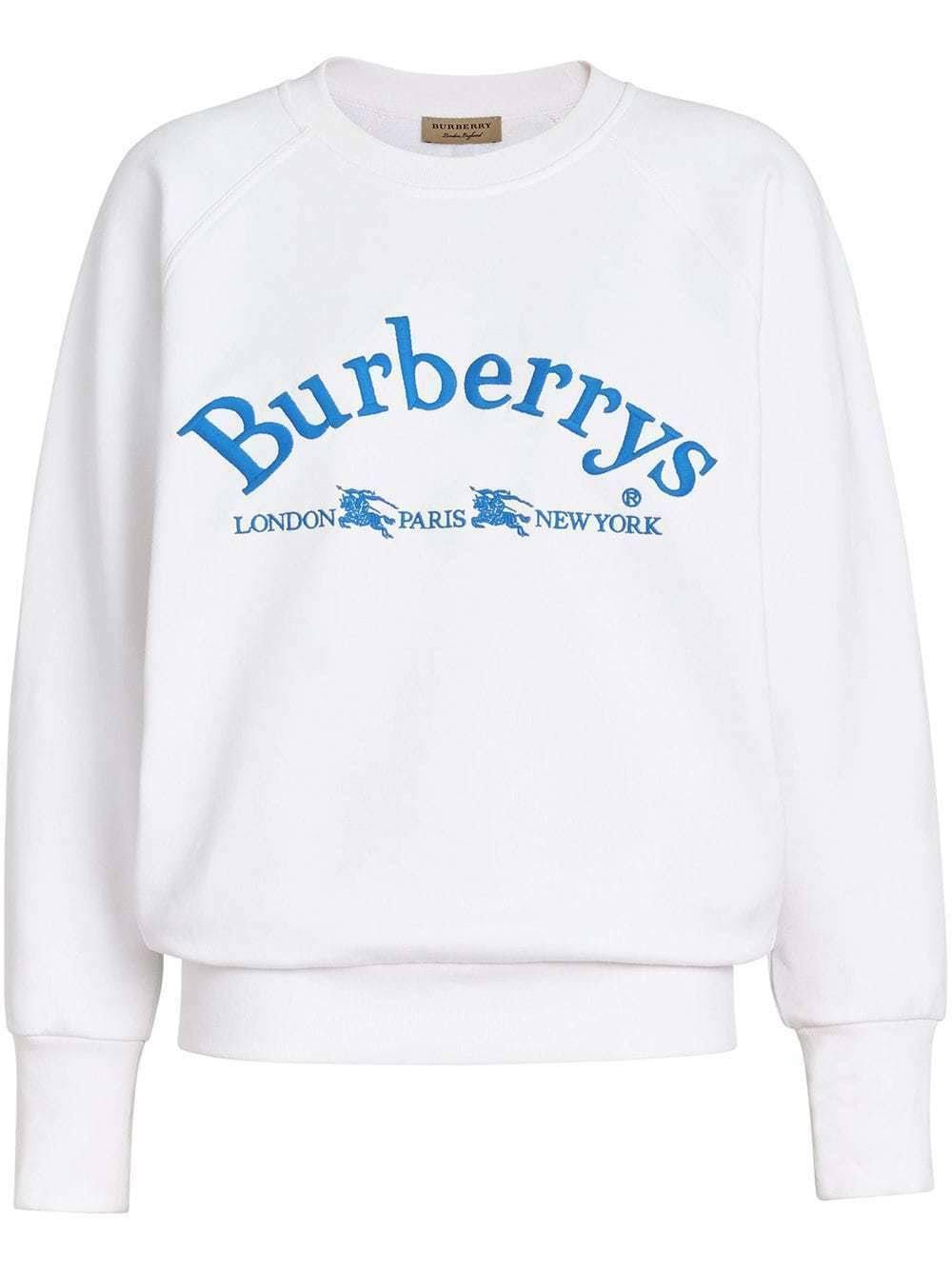 De Mujer Blanco Burberry Sweater Retro Tamaño Battarni Xs Logo Para aHxwtTxPq