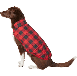 Chewy.com - Frisco Quilted Water-Resistant Reversible Insulated Dog & Cat Jacket, Red Plaid, Medium