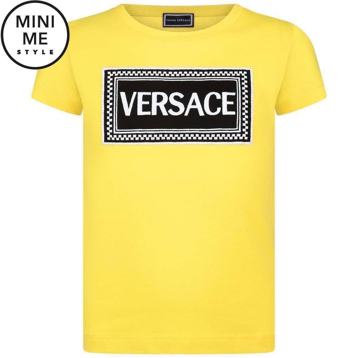 Versace Top 4 Girls De Logo Amarillo Young Algodón Años ICa4wq7