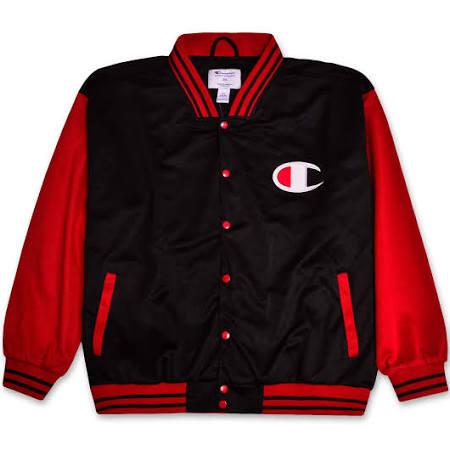 Leichte Mens Champion Logo Rot Trainingsjacke Big Varsity Script Schwarz Tall fvwUwxAqO
