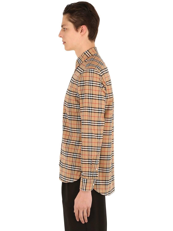 Burberry Tamaño Camisa De Elástico Xs Cuadros A Algodón Beige rwrY5dq