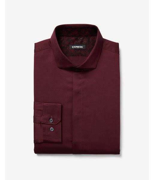 Xs Rot Kleid Herren Shirt Slim Satin Gemusterte Manschette Hn0qC