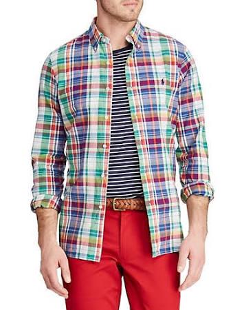 Corte Madras Lauren Hombre Para Mediana Botones Clásico Ralph Camisa Con Polo Talla Surtida R4xwC