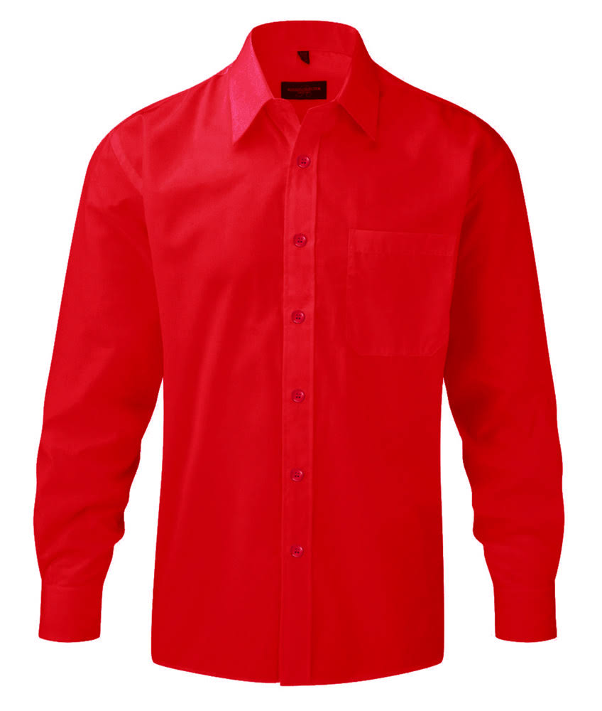 Easycare Largas De Polycotton Russell Popelín Collection J934m Roja Camisa Mangas nqP64ng8