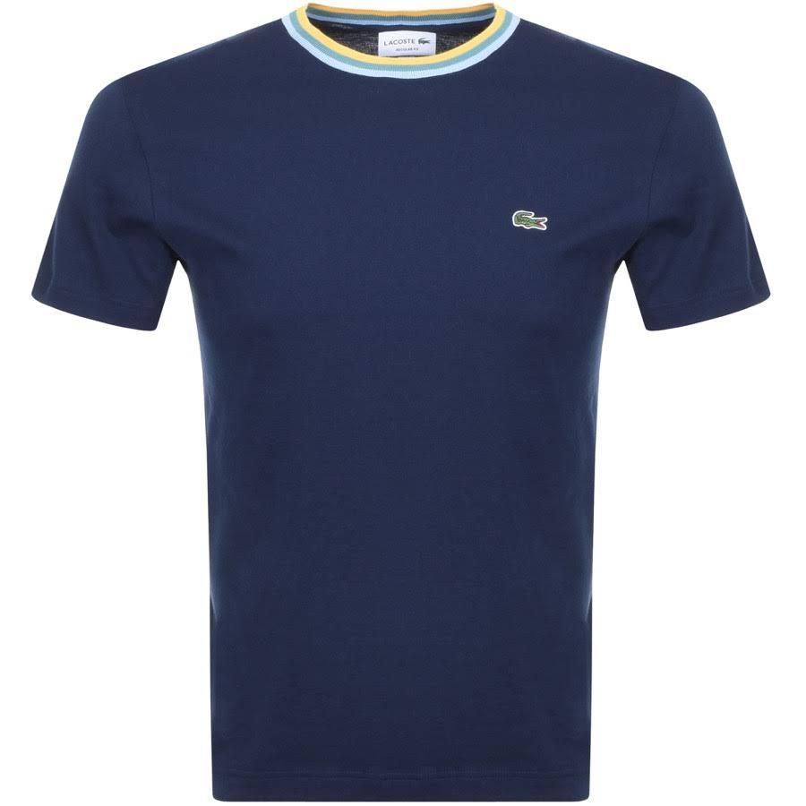 Mit S Lacoste shirt 3 Kontrastkragen Blau Navy T Herren FaqHt