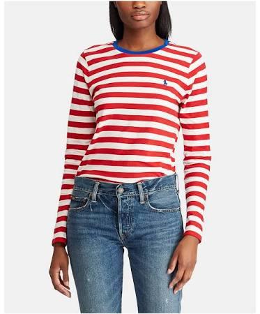 Cuello Blanco De Larga Redondo Con L Pp Mujer Rojo Polo Ralph Lauren Manga Camiseta nIw778ATY