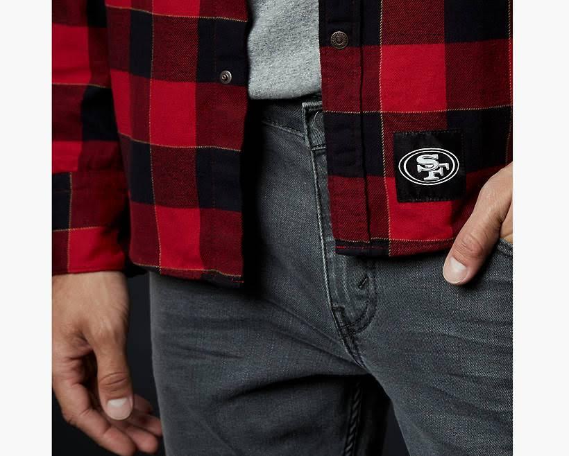 Larga Western Tamaño Rose Manga Estilo De San Francisco Camisa 3xl Abotonada 49ers Levi's Con YtAww1q