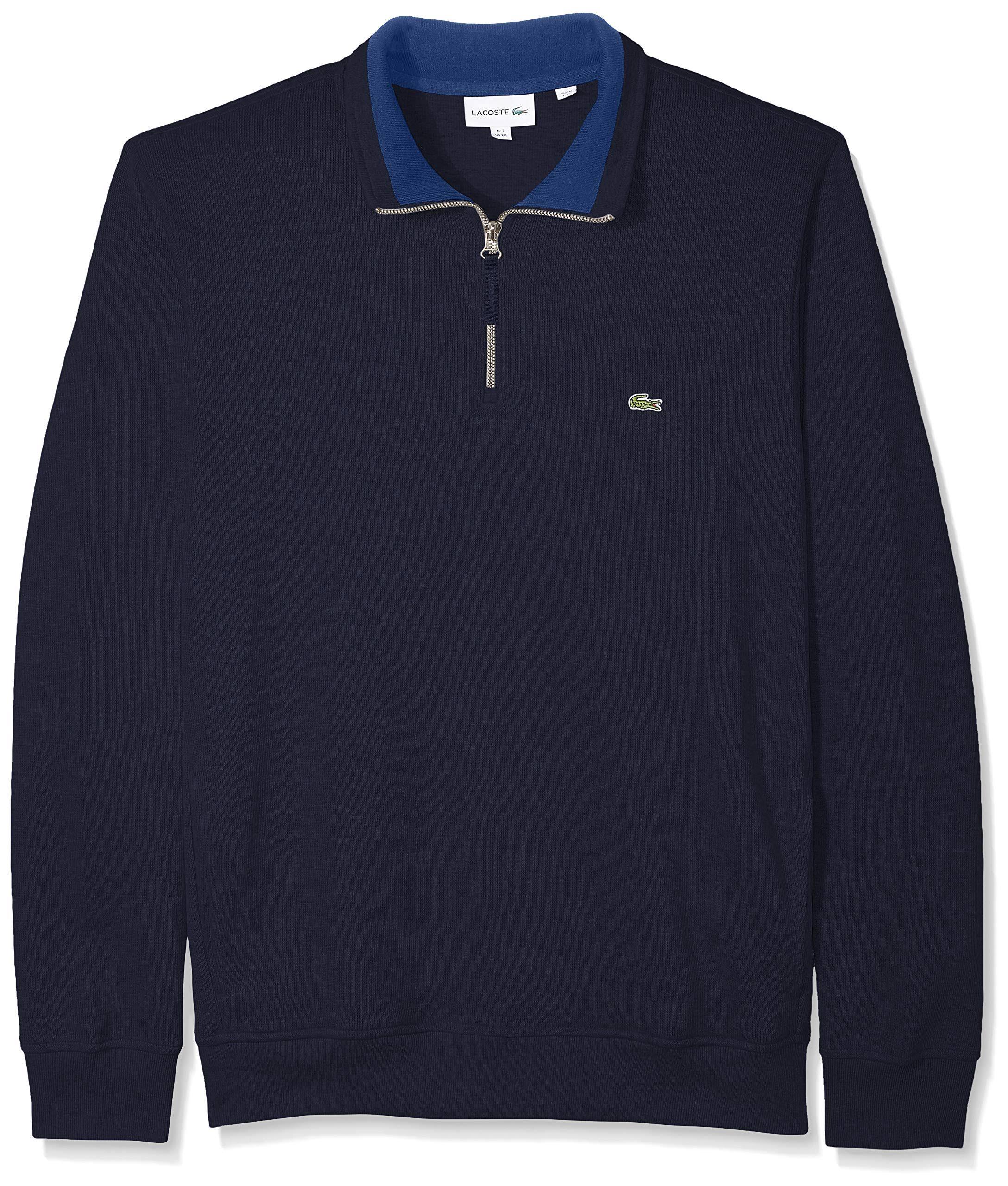 Tintero Larga Fancy Sweatshirt Hombres Semi Estándar Azul Marino Front Lacoste Manga Zip UqxBw7StPt