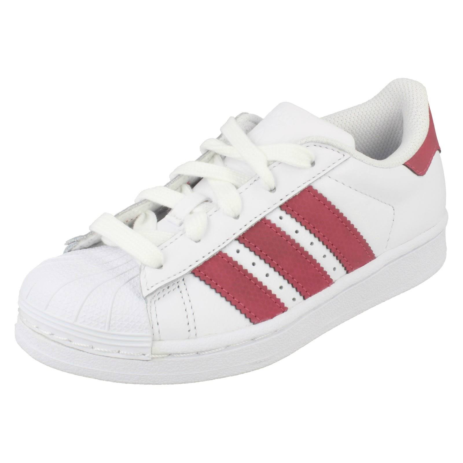 (UK 12, White/Pink (White)) Girls Adidas Casual Trainers Superstar C