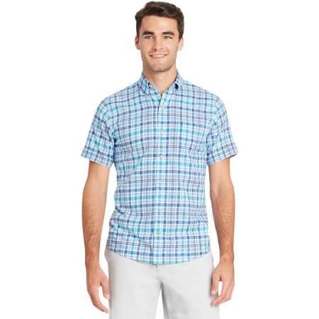 Xl Größe Essential Kurzarmhemd Izod Herren Plaid Blau Chambray q6wYARp